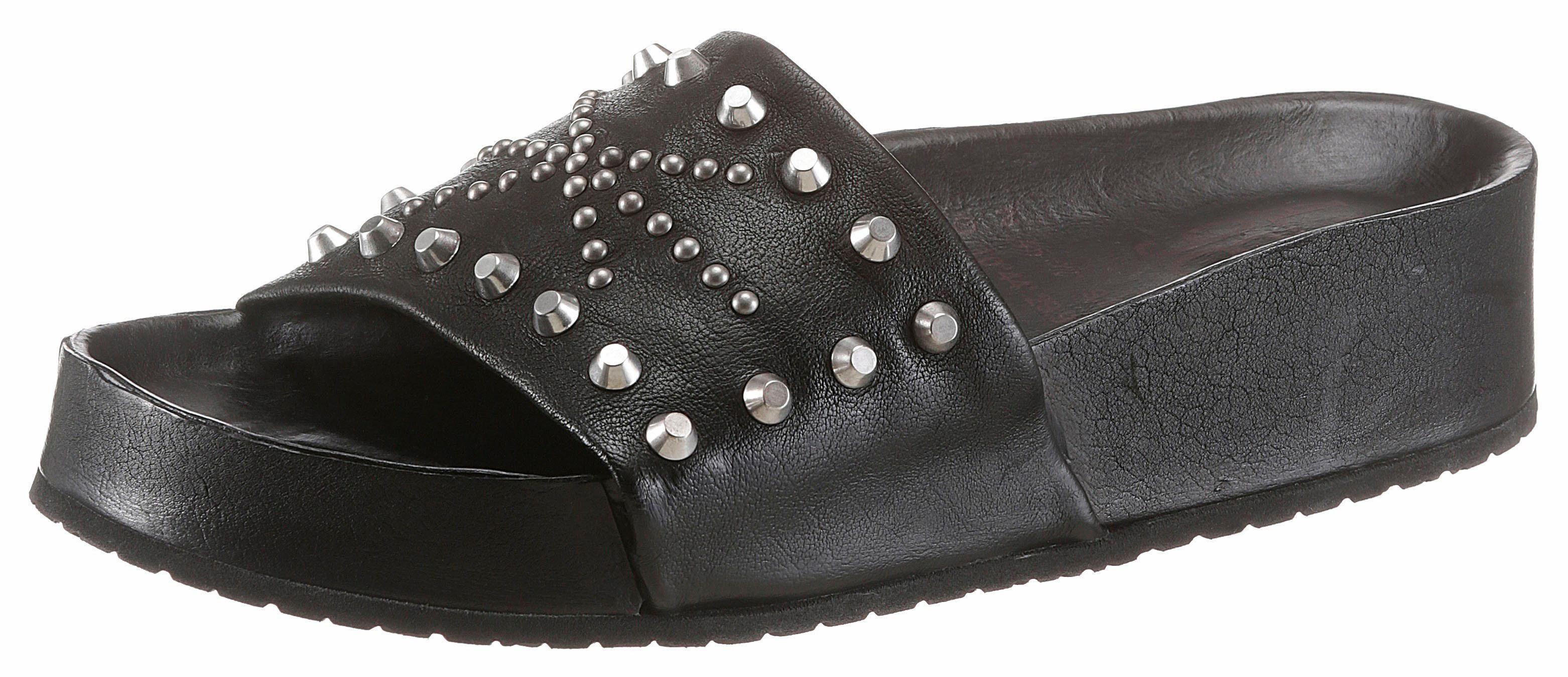 AS98 Pantolette, mit angesagter Plateausohle  schwarz