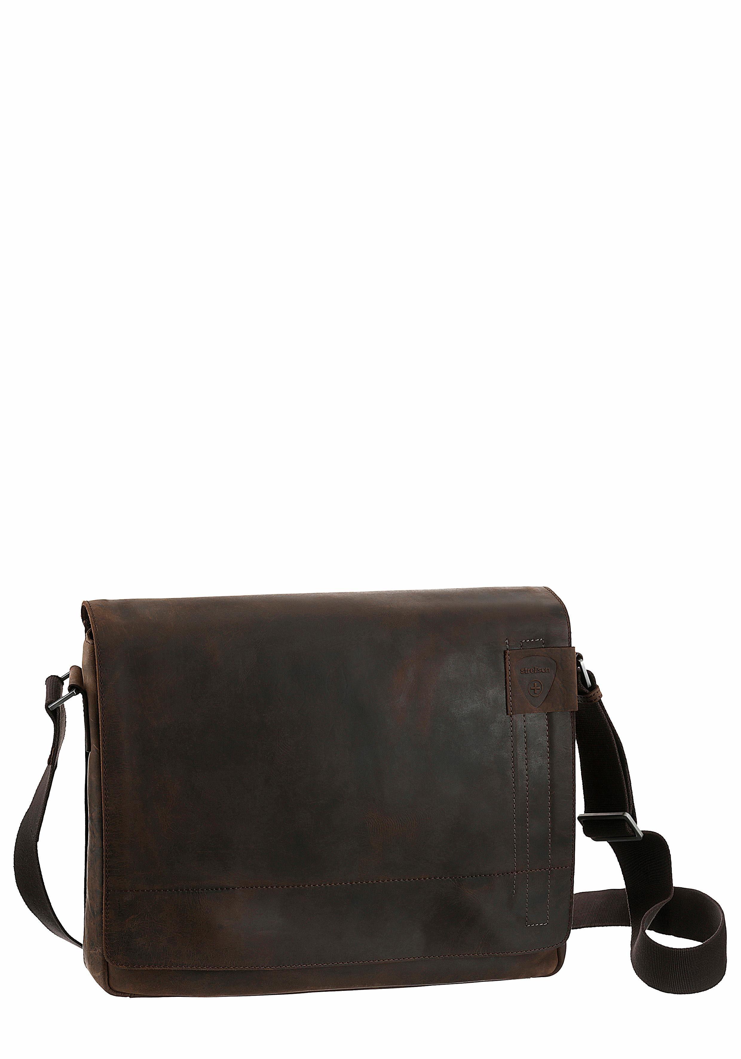 Strellson Messenger Bag, aus Leder mit gepolstertem Laptopfach