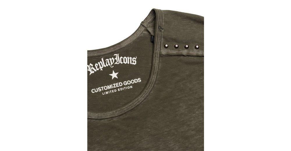 Replay Oversize Shirt mit Nietenapplikationen Neu Werden RyT5Z