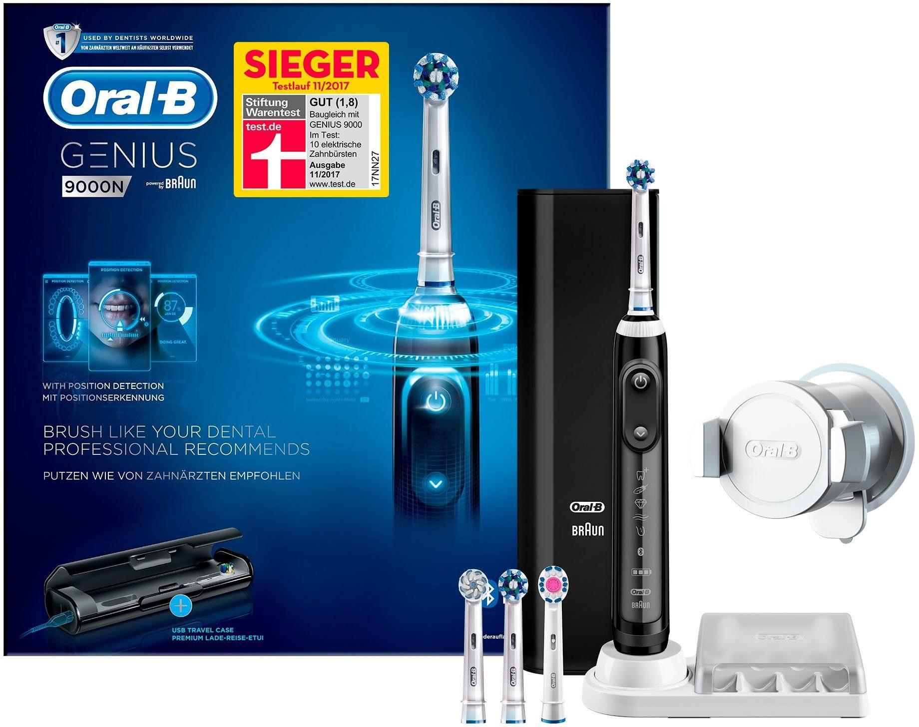 Oral B Elektrische Zahnbürste Genius 9000N, Aufsteckbürsten: 4 St., Smartphone-Halterung, Powered By Braun