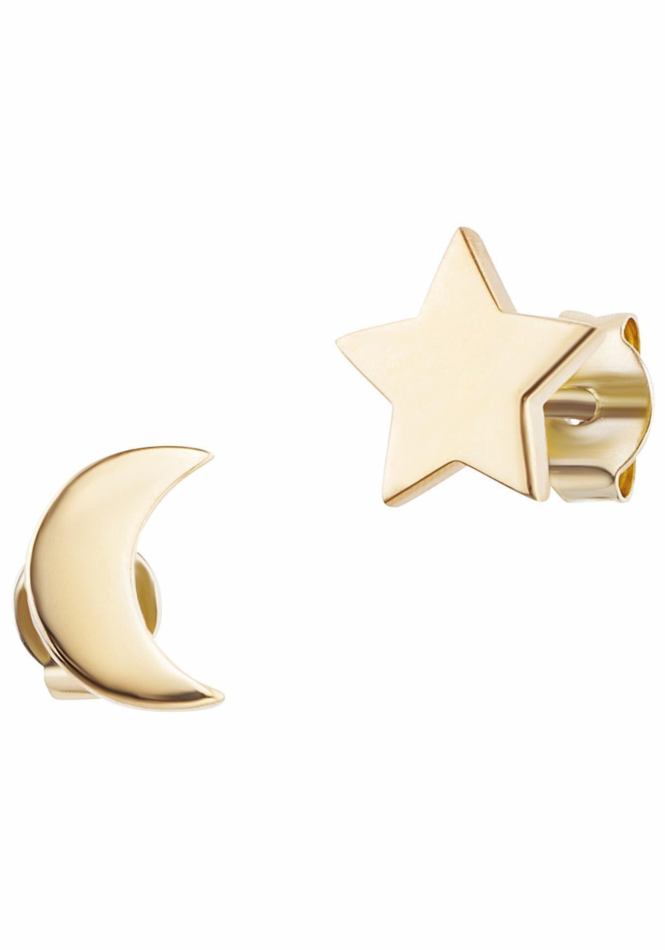 CAÏ Paar Ohrstecker »Halbmond, Stern, moon & stars, C7356E/90/00«