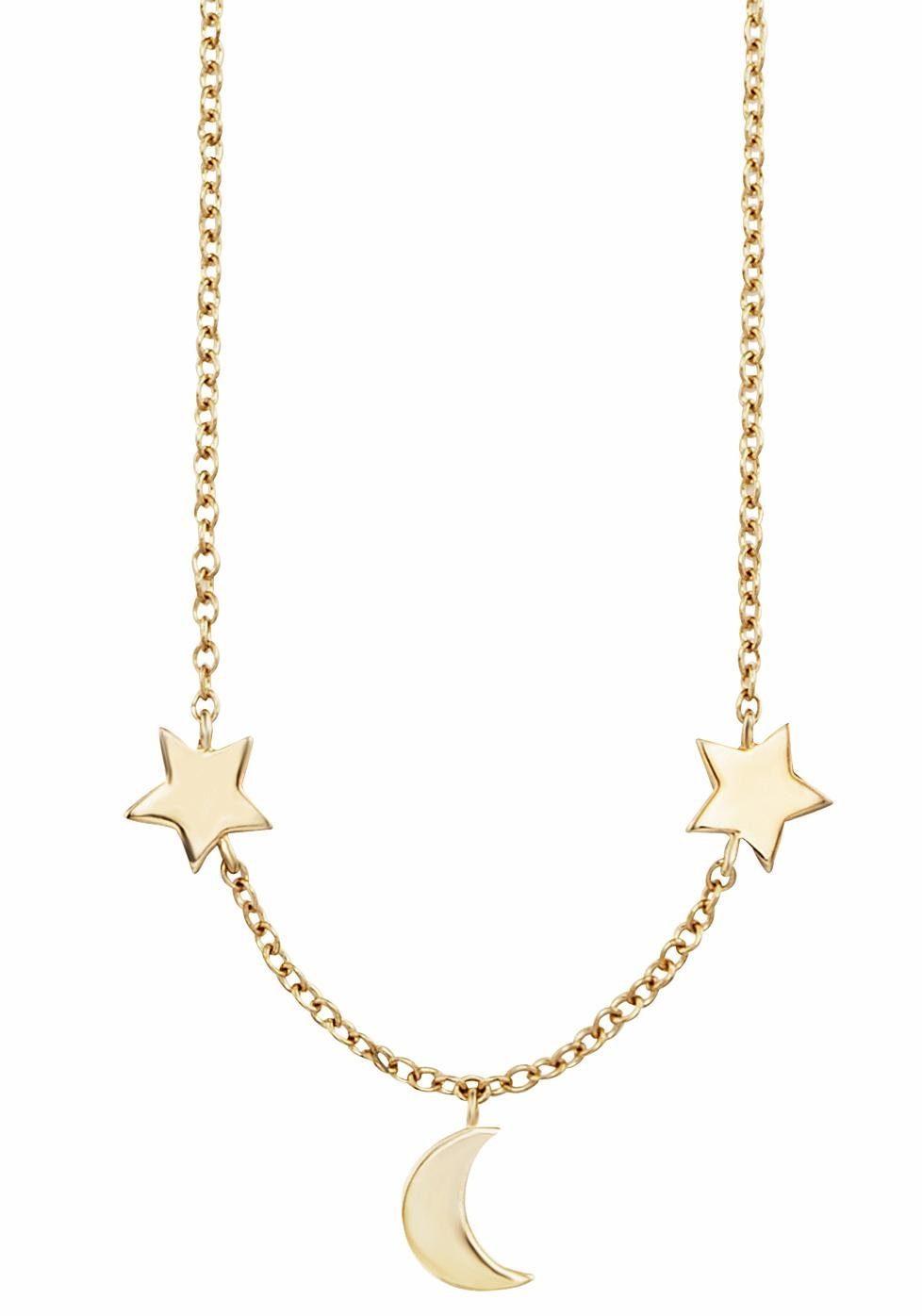 CAÏ Kette mit Anhänger »Halbmond, Sterne, moon & stars, C7356N/90/00/44«