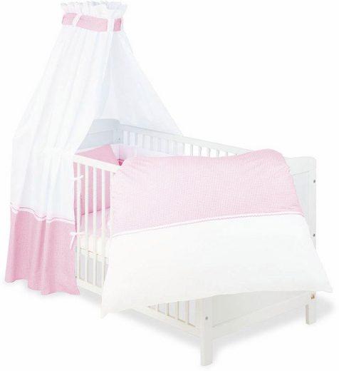 Himmelbettgarnitur »Vichy-Karo, rosa«, Pinolino®, Kinderbetten, Set: Bettwäsche, Betthimmel, Nestchen