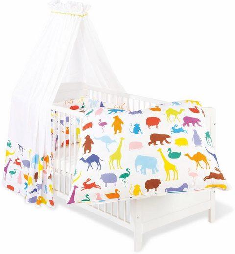 Himmelbettgarnitur »Happy Zoo«, Pinolino®, Kinderbetten, Set: Bettwäsche, Betthimmel, Nestchen