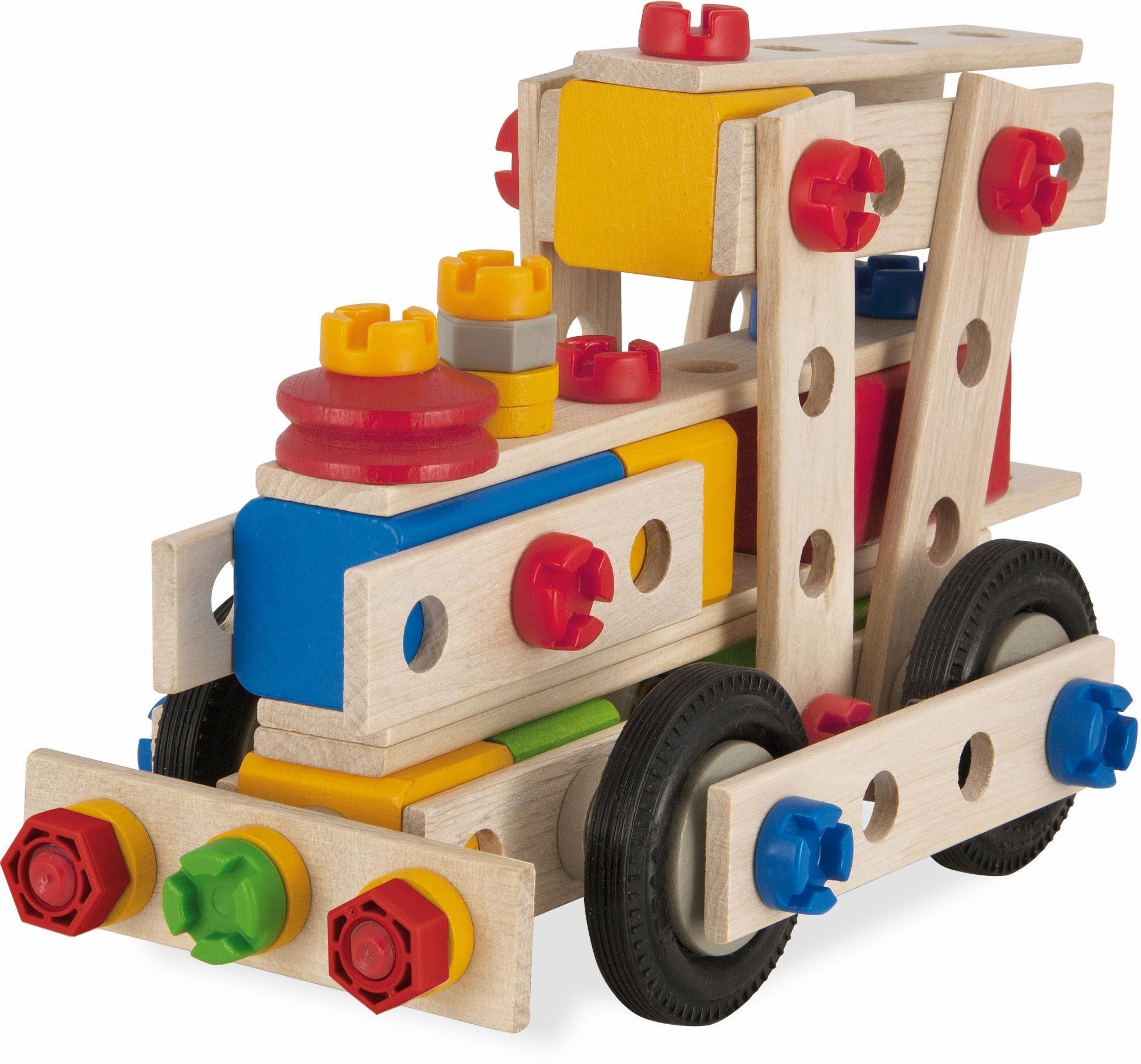 Eichhorn Multifunktionsbausatz für verschiedene Fahrzeuge aus Holz, »Constructor große Lok, 100 tlg.«