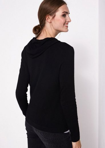COMMA Weicher Strickhoodie mit dekorativen Details