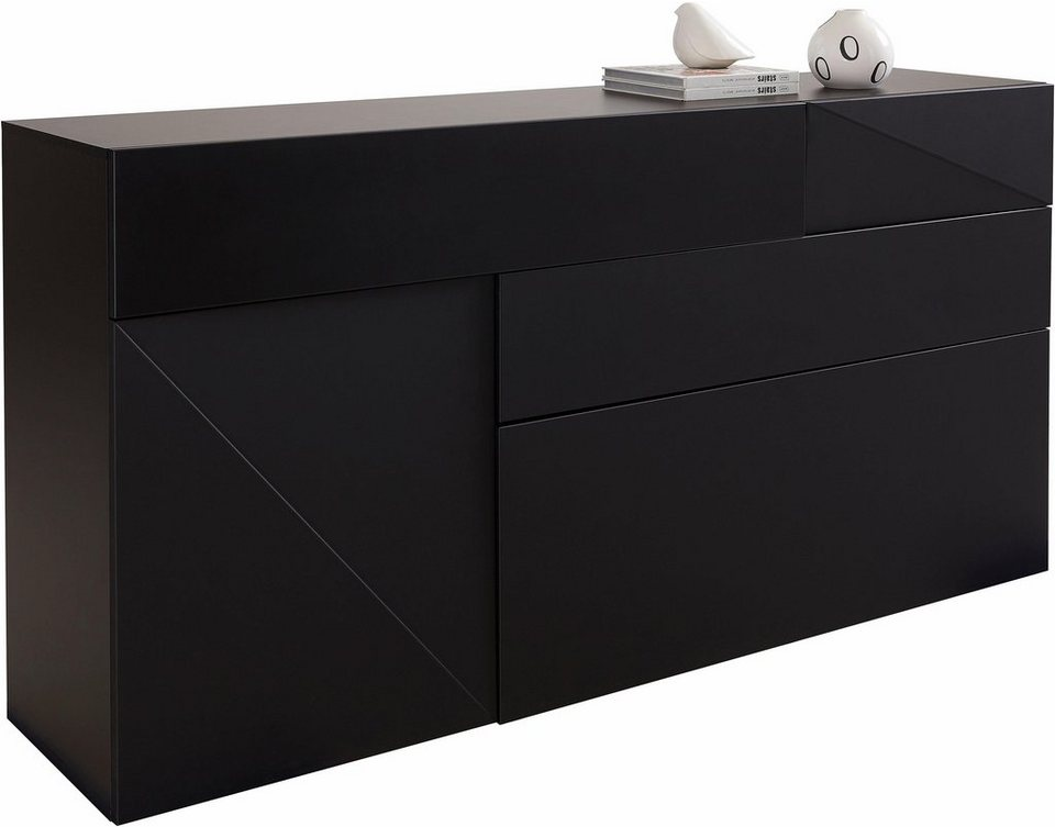 highboard schwarz wei kommode vigo sideboard mit glasboden und tren highboard anrichte schrank. Black Bedroom Furniture Sets. Home Design Ideas