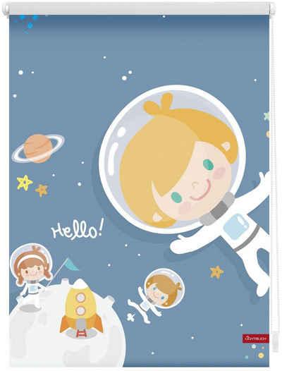 Seitenzugrollo »Klemmfix Digital Astronaut«, LICHTBLICK ORIGINAL, verdunkelnd, ohne Bohren, freihängend, bedruckt