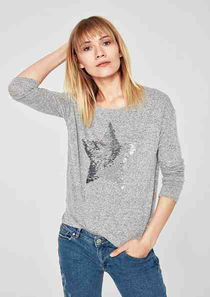 s.Oliver RED LABEL Melange-Shirt mit Wendepailletten