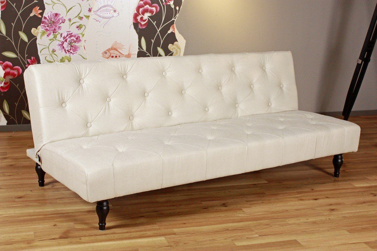 Kasper-Wohndesign Schlafsofa Microfaser creme- weiß »Chesterfield Style«