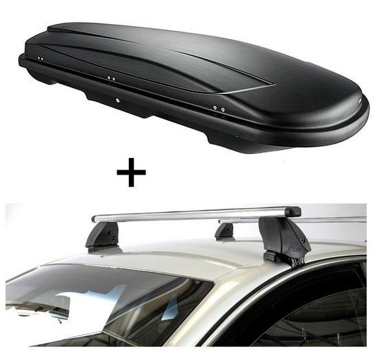 VDP Fahrradträger, Dachbox VDPJUXT500 500 Liter abschließbar schwarz + Dachträger K1 PRO Aluminium kompatibel mit Seat Arosa (3Türer) 97-04