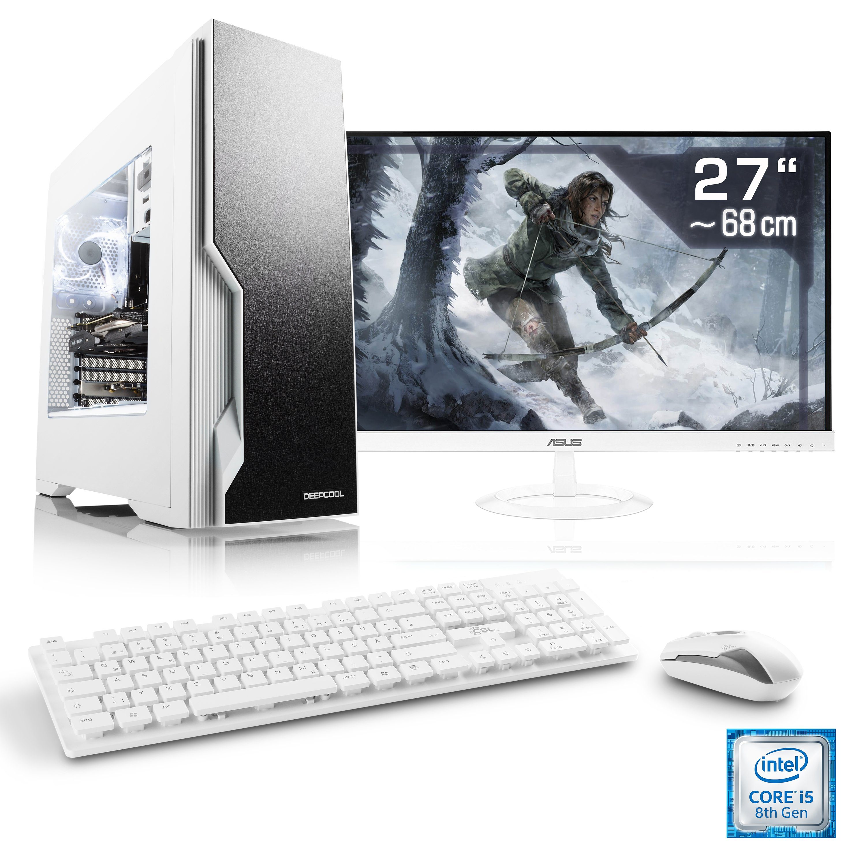 "CSL Gaming PC Set | Core i5-8400 | GTX 1060 | 16 GB DDR4 | 27"" TFT »Speed T5568 Windows 10 Home«"