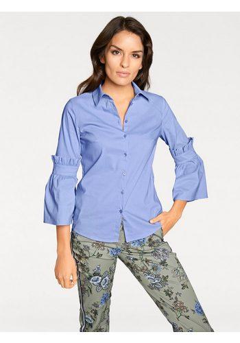 Damen heine TIMELESS Bluse mit Rüschen und Volant blau | 04058439740239