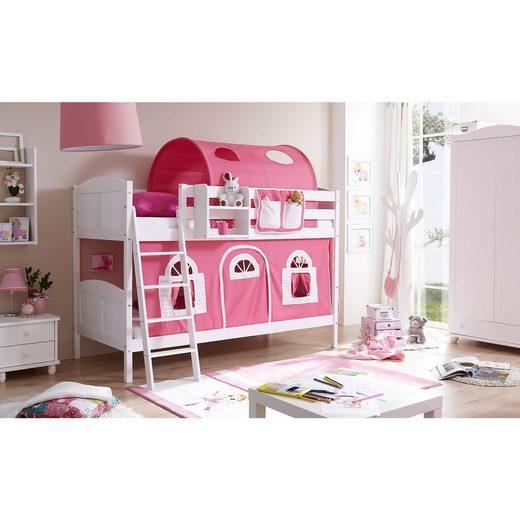 Ticaa Etagenbett Erni Country, Kiefer massiv, weiß lackiert, rosa-