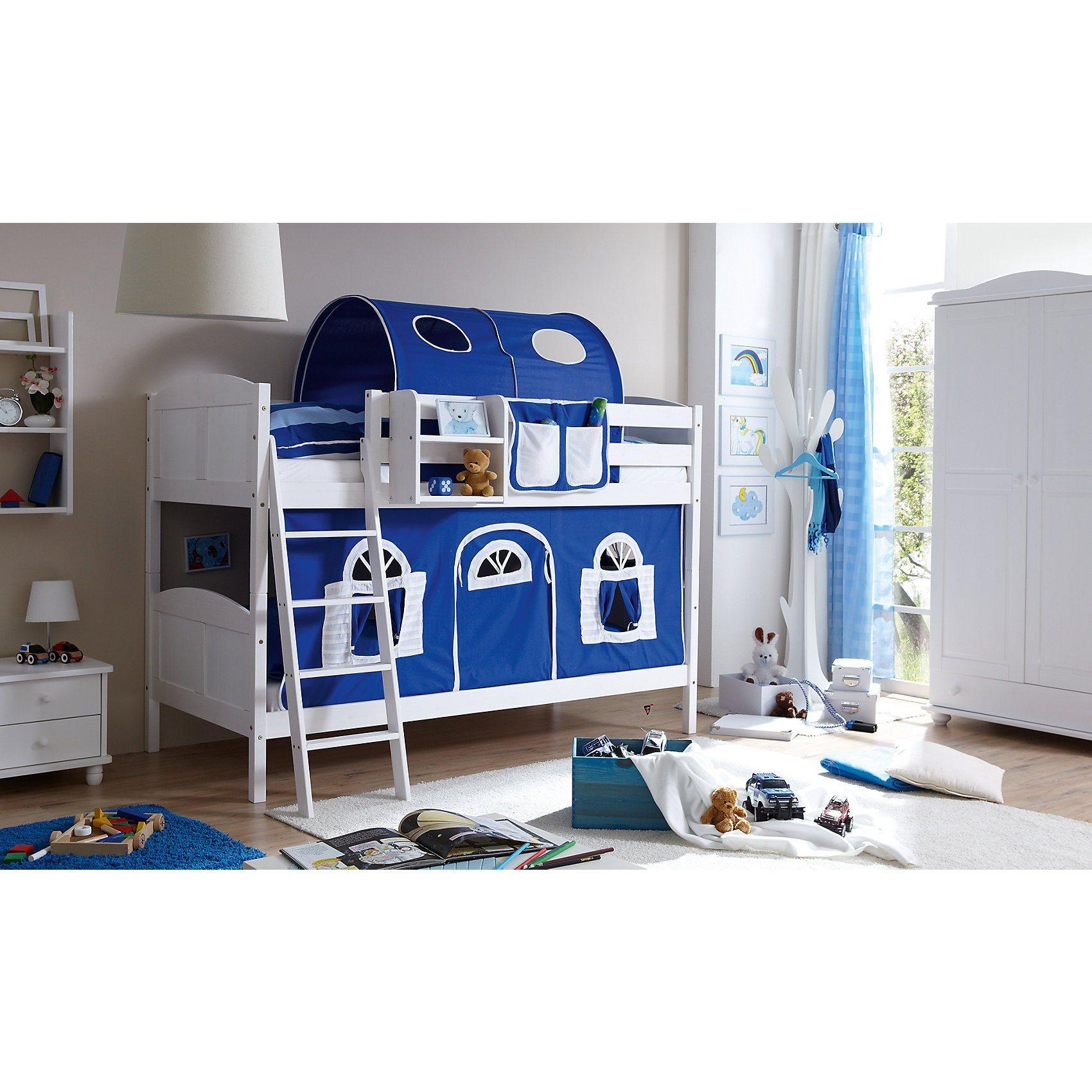 Ticaa Etagenbett Erni Country, Kiefer massiv, weiß lackiert, blau- | Kinderzimmer > Kinderbetten > Etagenbetten | Weiß | Kiefer - Massiv - Lackiert - Baumwolle | Ticaa