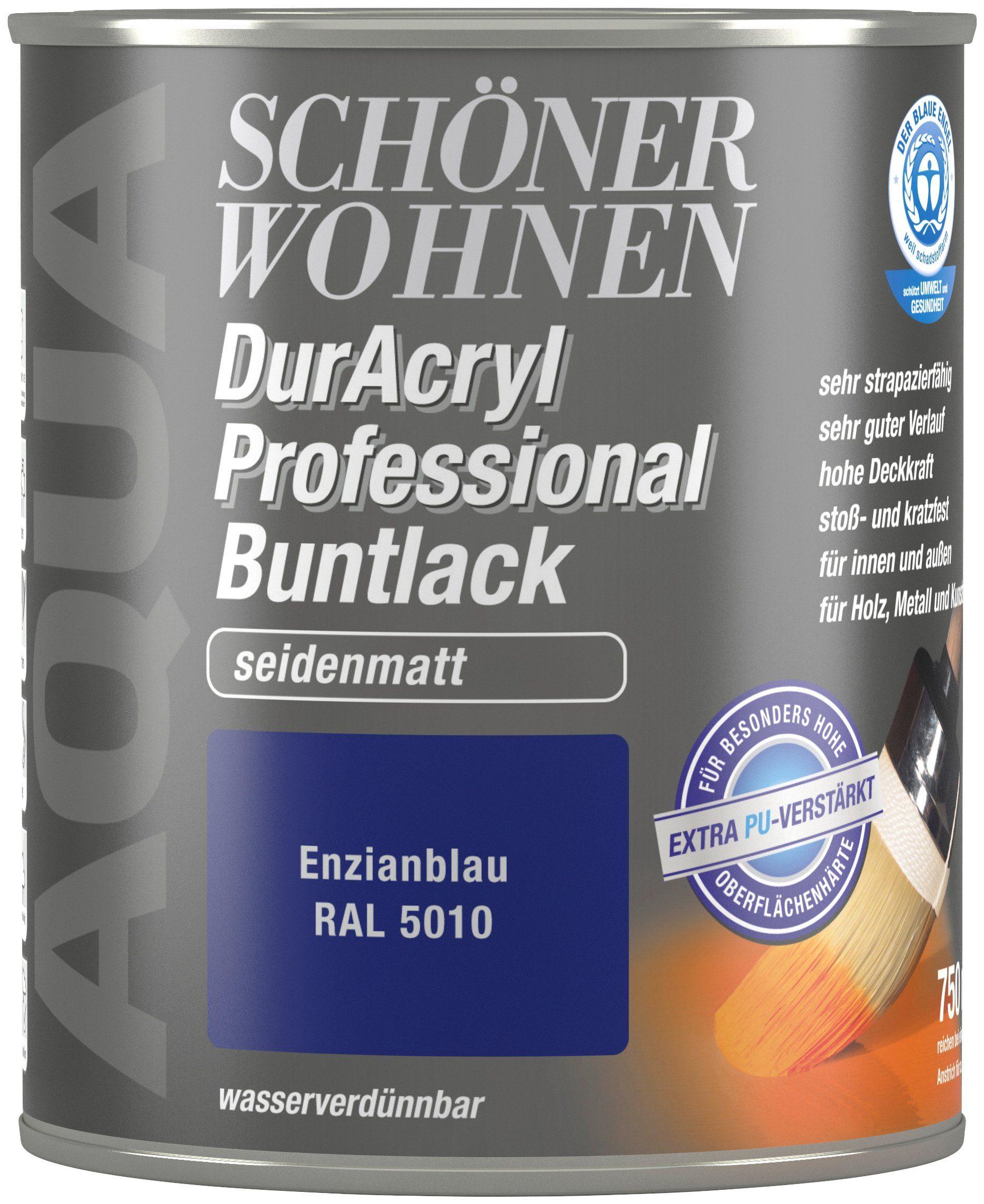 Schöner Wohnen Farbe Buntlack »DurAcryl Professional seidenmatt, 750 ml enzianblau«