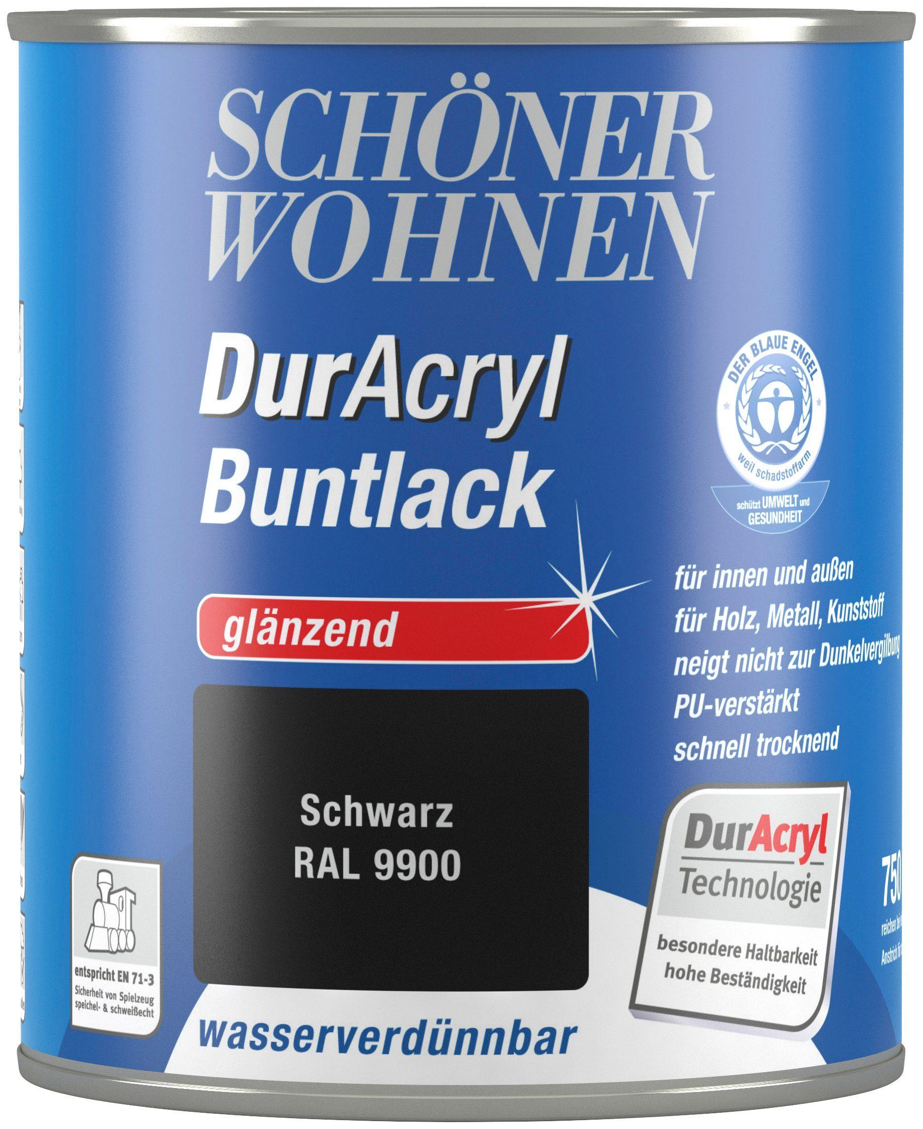 Schöner Wohnen Farbe Buntlack »DurAcryl hochglänzend, 750 ml schwarz«