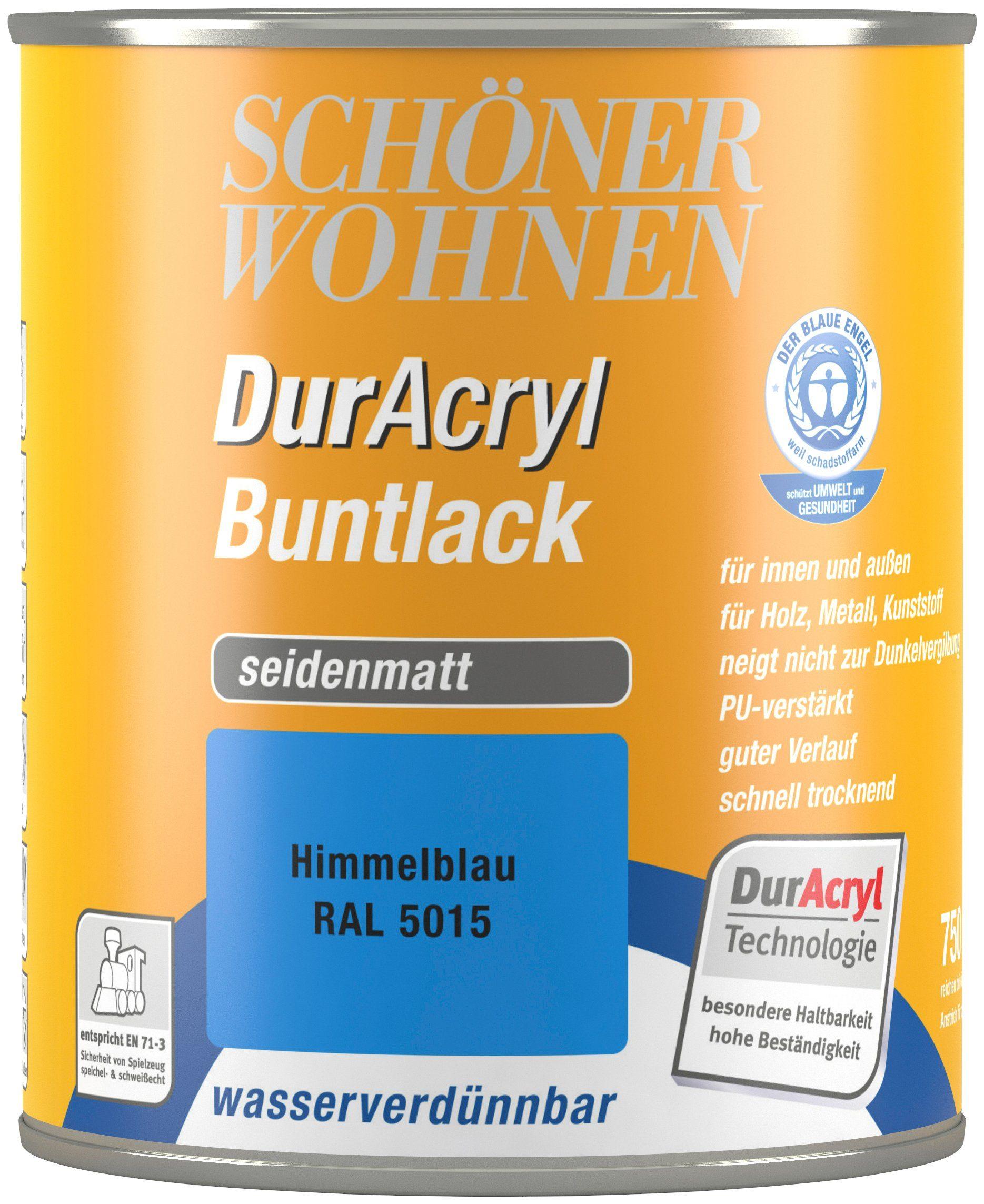 Schöner Wohnen Farbe Buntlack »DurAcryl seidenmatt, 750 ml himmelblau«
