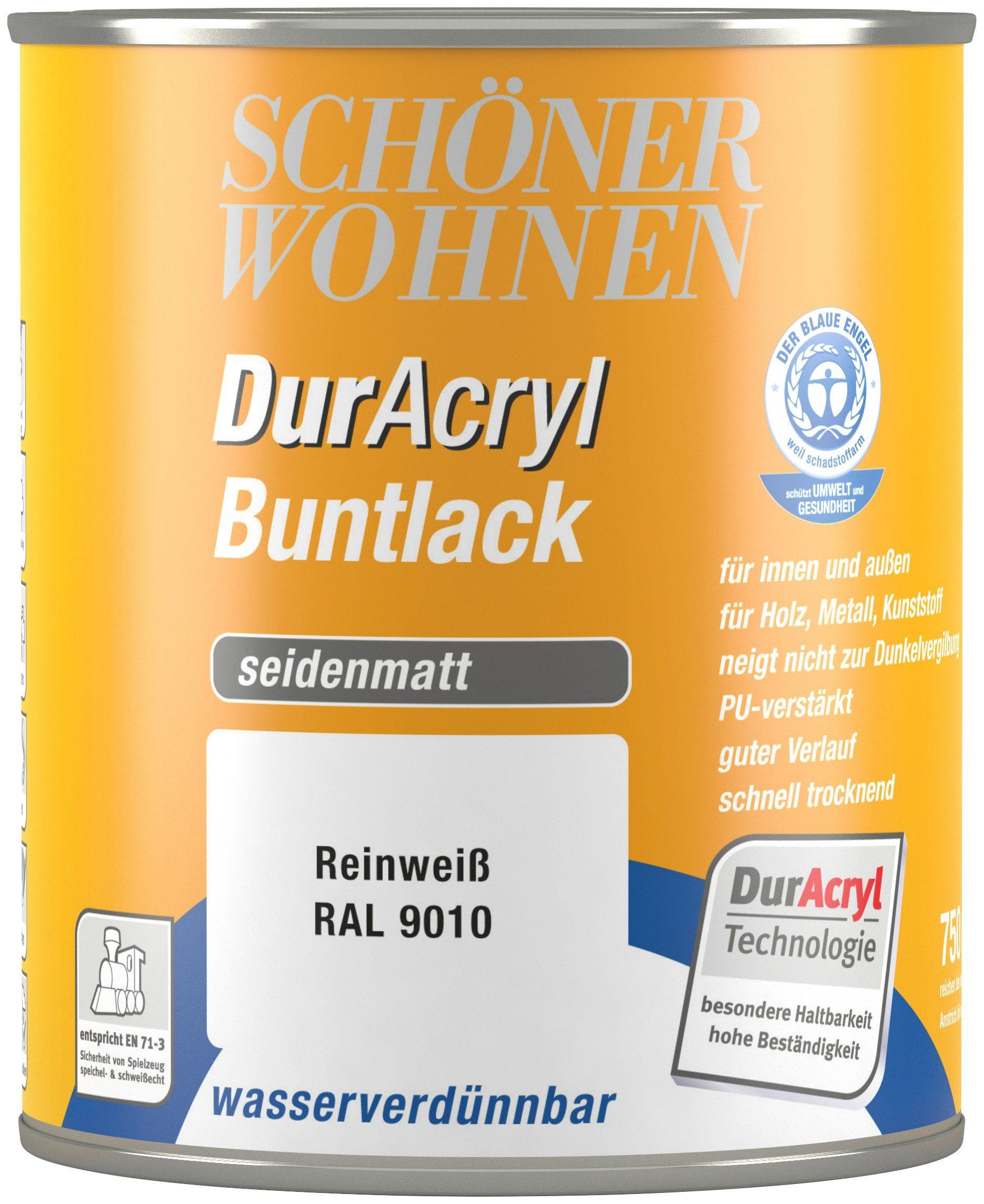 Schöner Wohnen Farbe Buntlack »DurAcryl seidenmatt, 750 ml reinweiß«