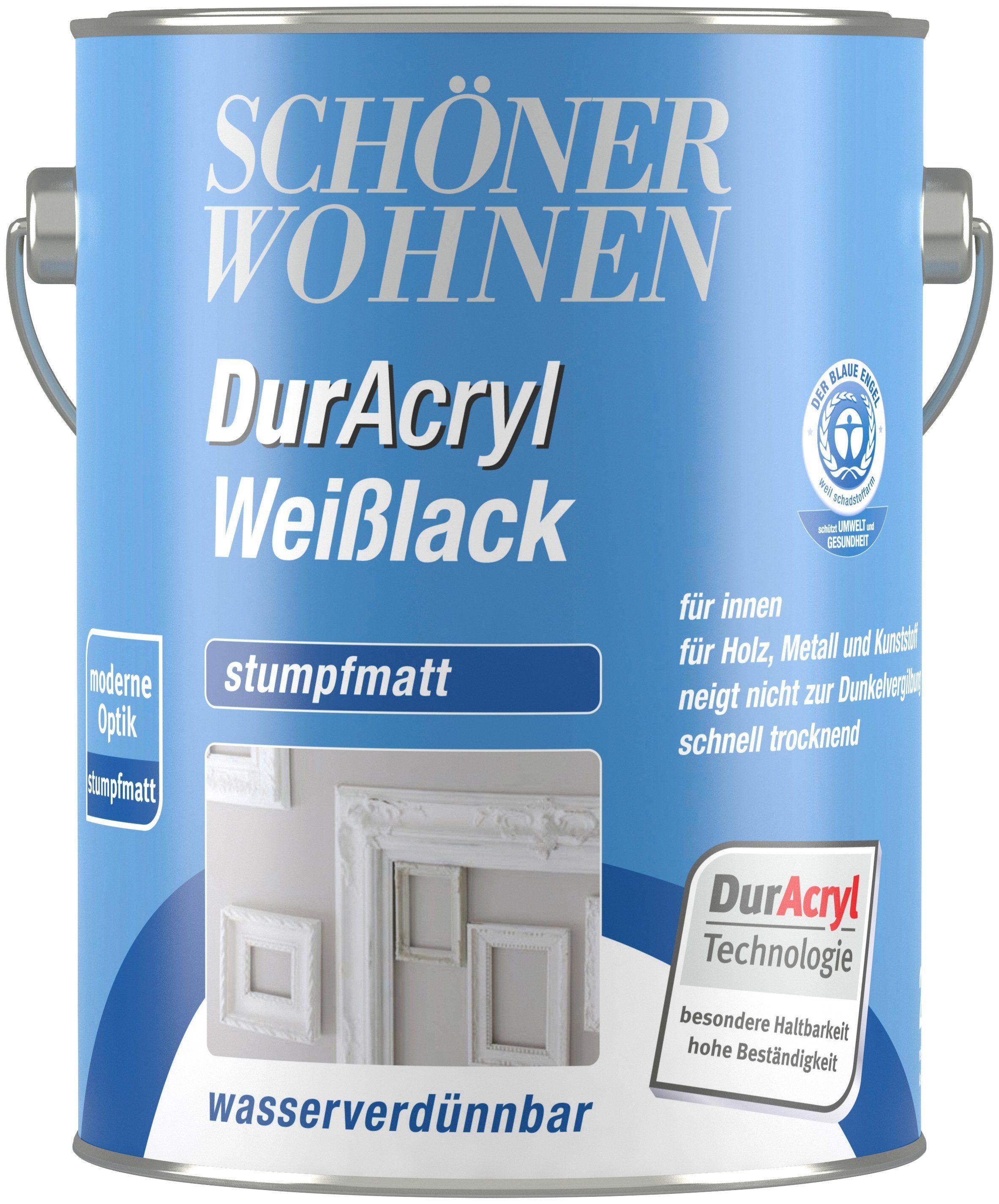 SCHÖNER WOHNEN FARBE Weißlack »Duracryl Weilack stumpfmatt stumpfmatt, 2,5 L«