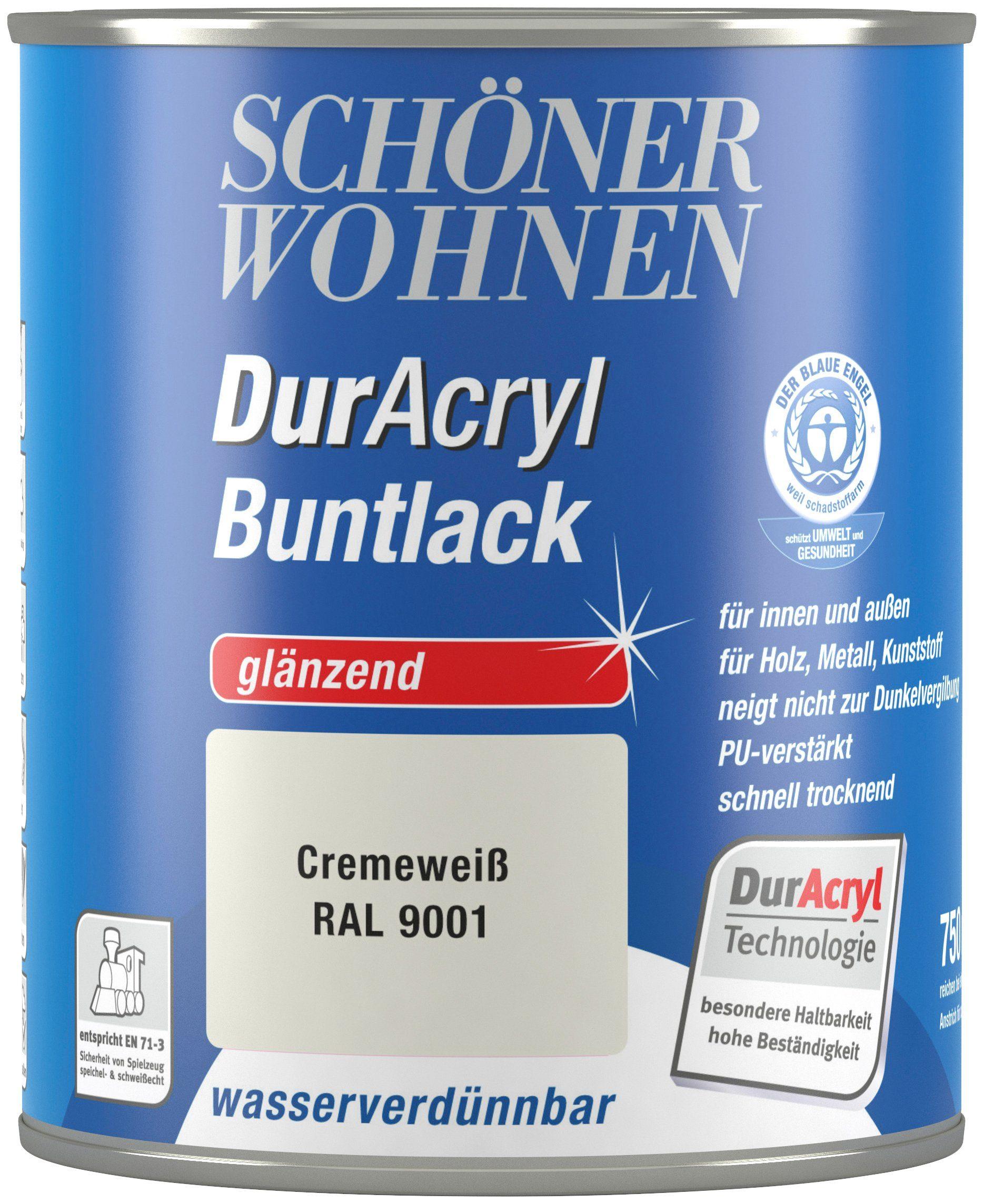 Schöner Wohnen Farbe Buntlack »DurAcryl glänzend, 750 ml cremeweiß«