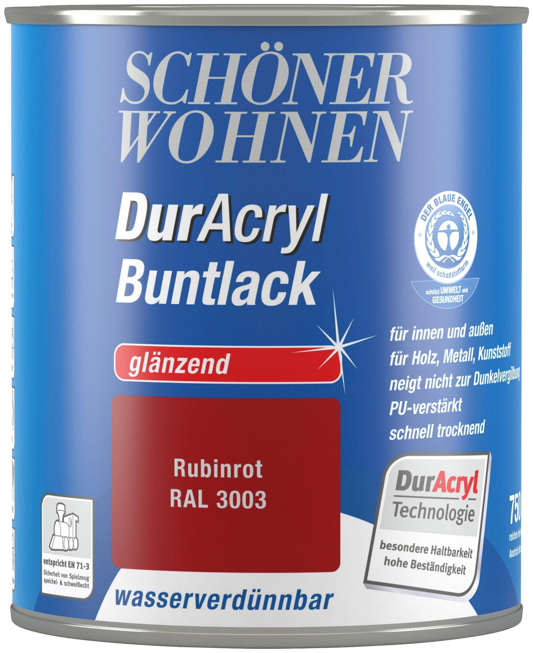 Schöner Wohnen Farbe Buntlack »DurAcryl glänzend, 750 ml rubinrot«
