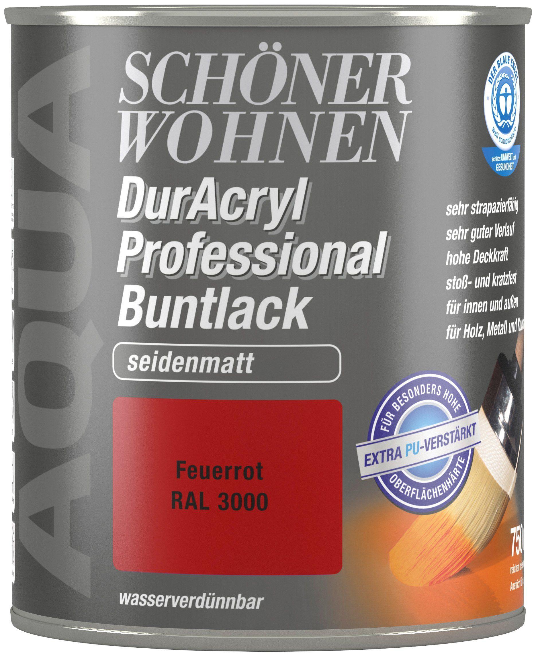 Schöner Wohnen Farbe Buntlack »DurAcryl Professional seidenmatt, 750 ml feuerrot«