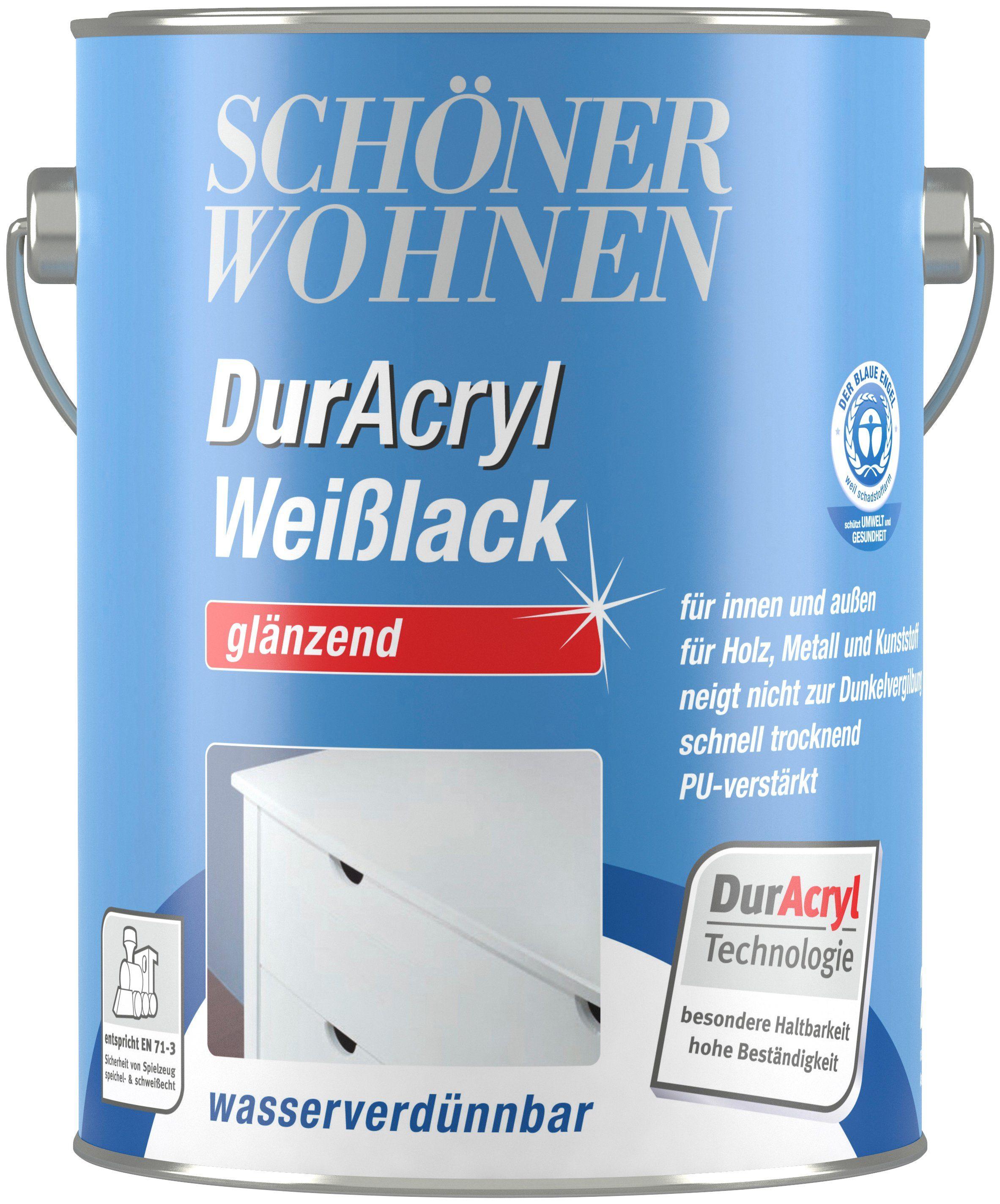 SCHÖNER WOHNEN FARBE Weißlack »DurAcryl Weißlack«, glänzend, 2,5 l
