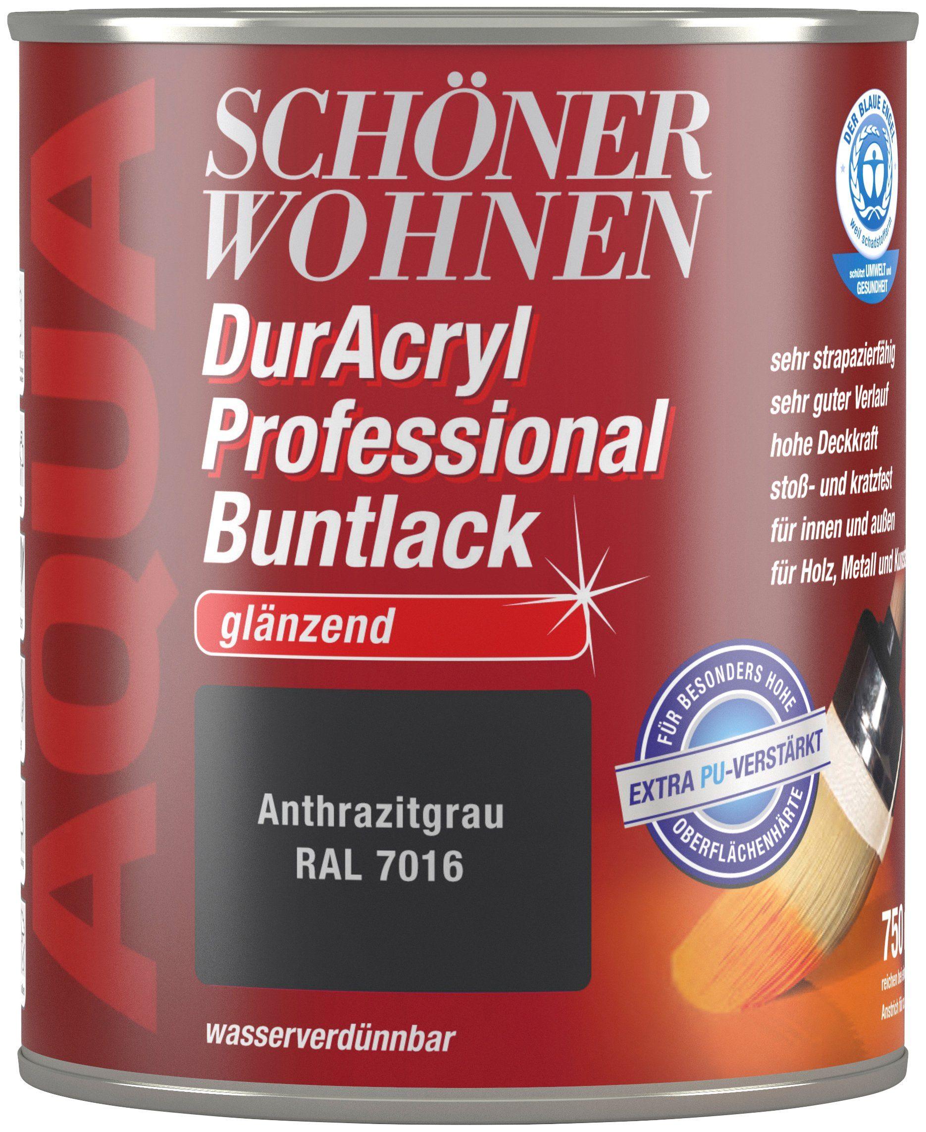 Schöner Wohnen Farbe Buntlack »DurAcryl Professional glänzend, 750 ml anthrazitgrau«