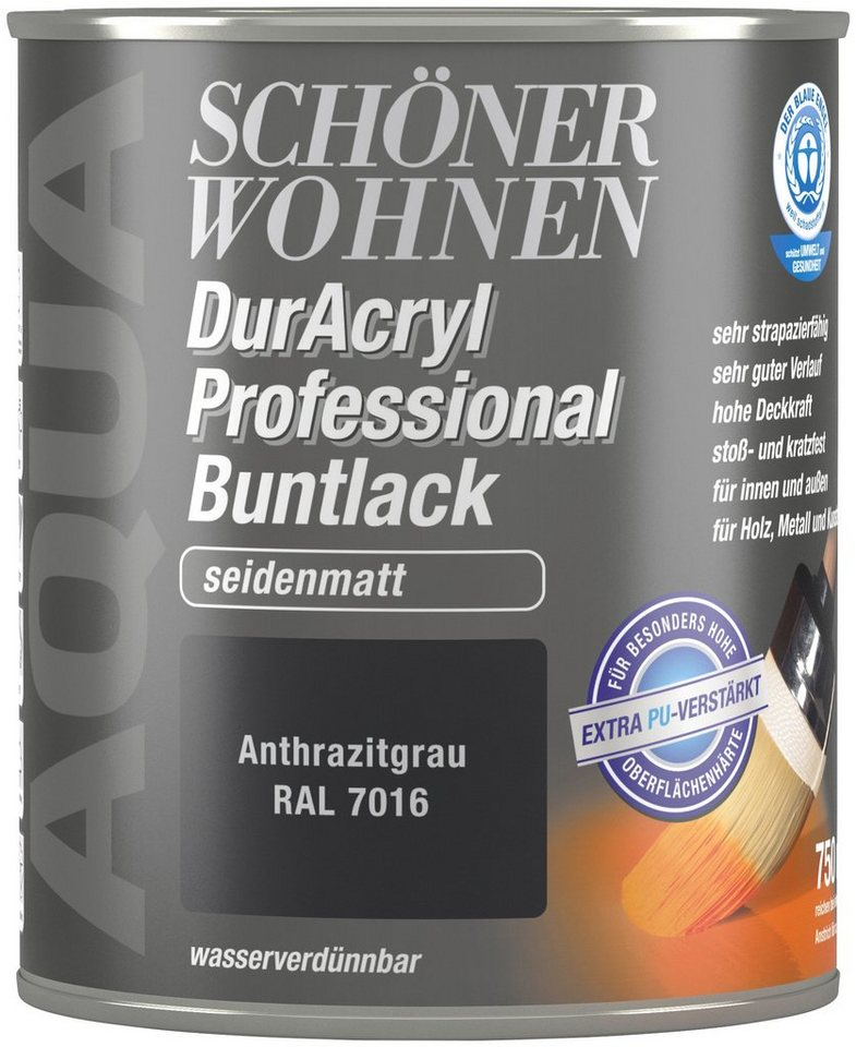 sch ner wohnen farbe buntlack duracryl professional seidenmatt 750 ml anthrazitgrau online. Black Bedroom Furniture Sets. Home Design Ideas