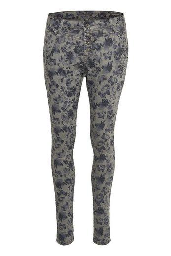 Cream Skinny-fit-jeans Flower Pants