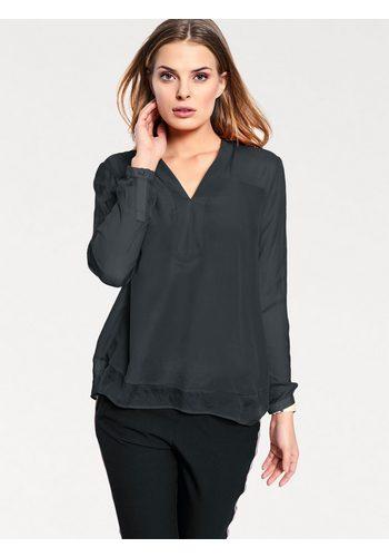 Damen heine CASUAL Bluse mit V-Ausschnitt schwarz | 08698272563761
