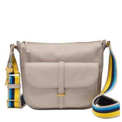 Fossil Schultertasche »RYDER SHOULDER BAG«, aus Leder mit modischem Textilumhängeriemen