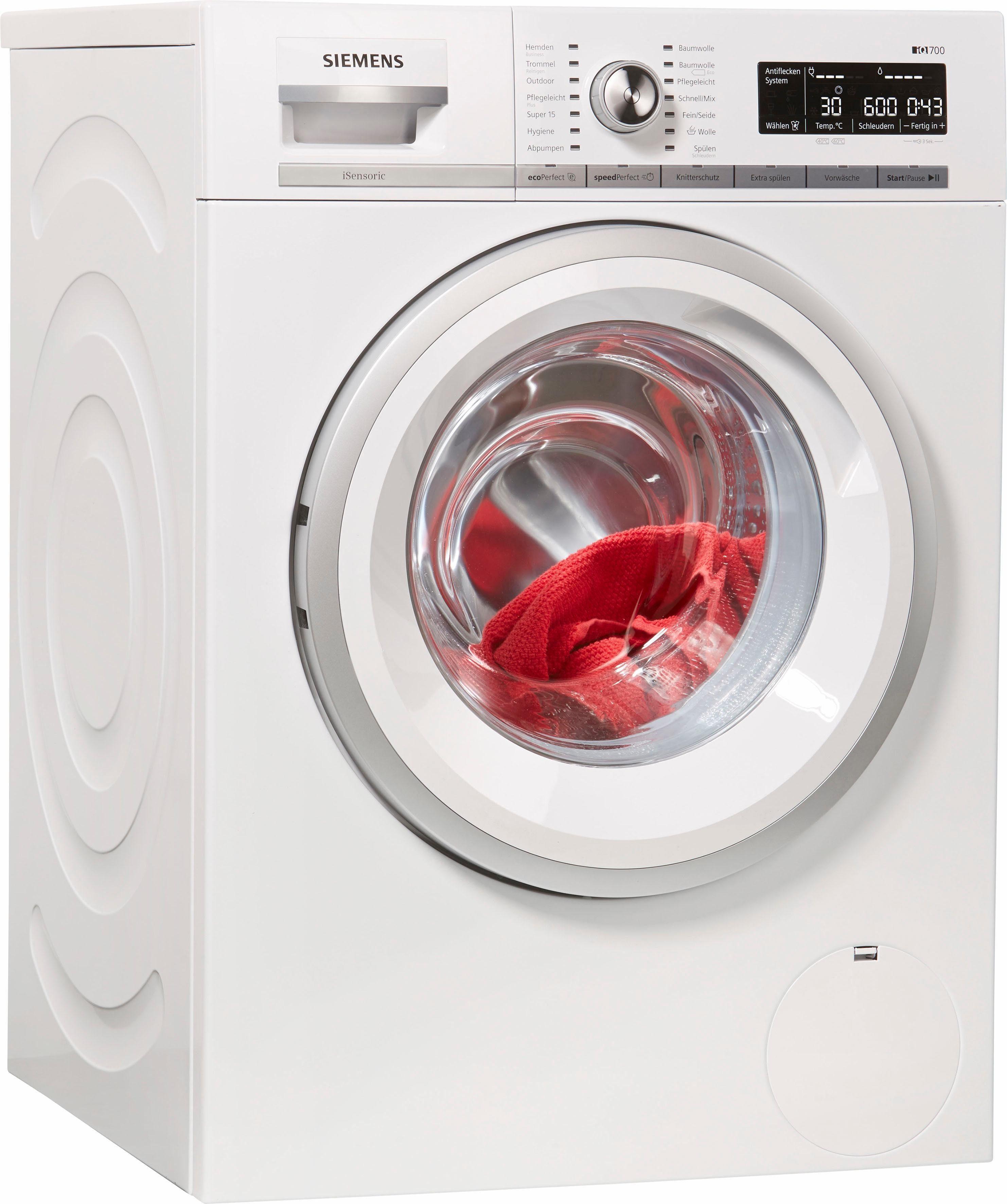 SIEMENS Waschmaschine iQ700 WM14W570, 8 kg, 1400 U/Min, Stiftung Warentest Testsieger