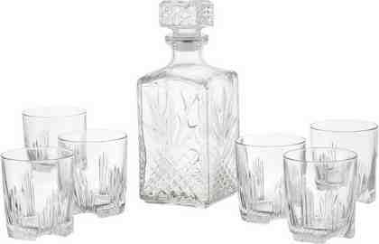 Van Well Whisky-Set, Strukturglas, 7-teilig, »Selecta«