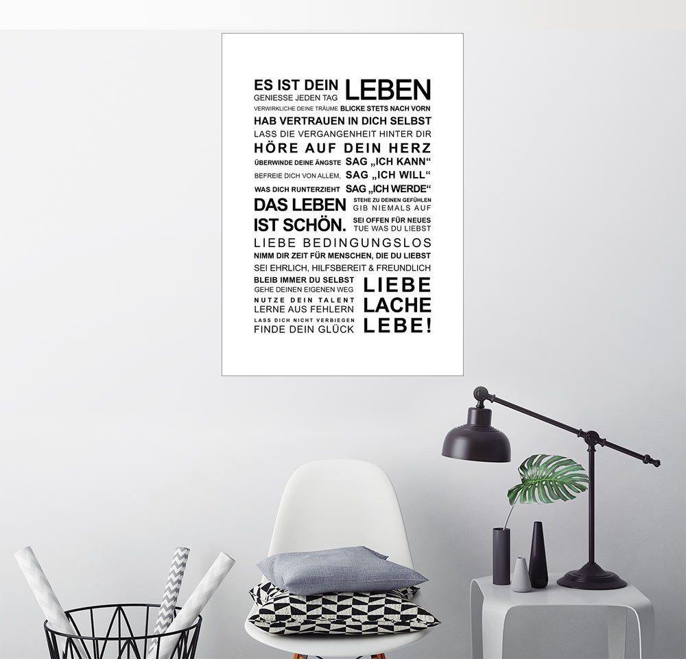 Posterlounge Wandbild - ABOUKI Art Factory »Es ist Dein Leben Manifest« | Dekoration > Bilder und Rahmen > Bilder | Weiß | Posterlounge