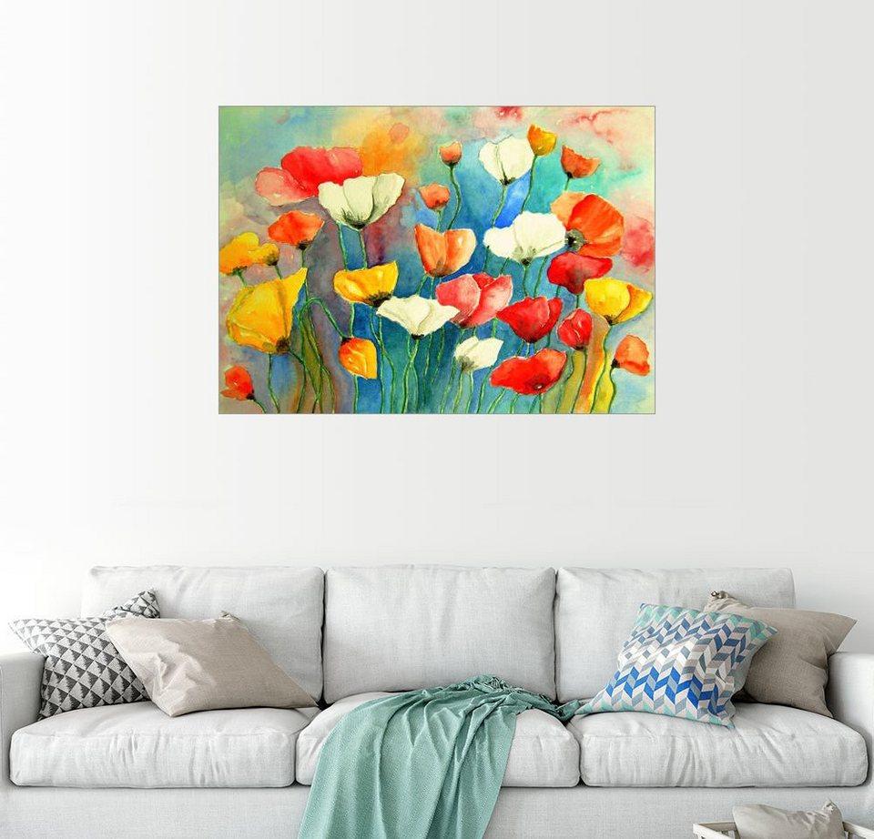 Posterlounge Wandbild   Siegfried2838 »Bunter Mohn, Mohnblumen Blumen  Malerei«
