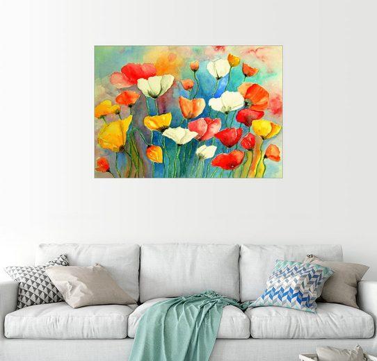 Posterlounge Wandbild - siegfried2838 »Bunter Mohn, Mohnblumen Blumen Malerei«