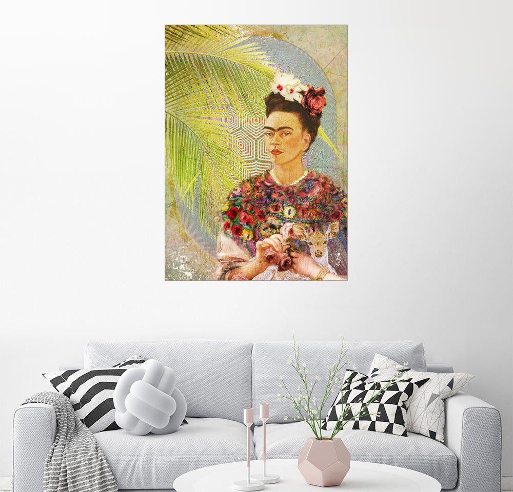Posterlounge Wandbild - Moon Berry Prints »Frida Kahlo mit Rehkitz«
