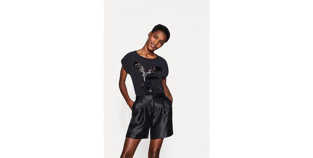 ESPRIT COLLECTION T-Shirt mit auff盲lligem Feder-Dekor