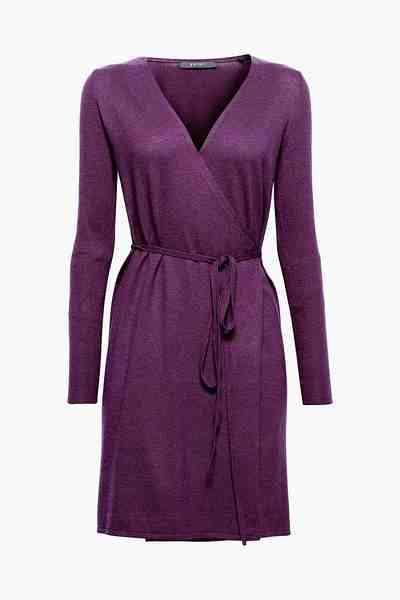 ESPRIT COLLECTION Wickel-Kleid aus Feinstrick mit Kaschmir