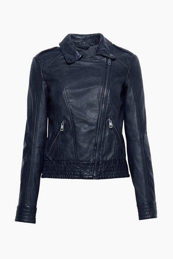 ESPRIT Taillierte Biker-Jacke aus kräftigem Leder