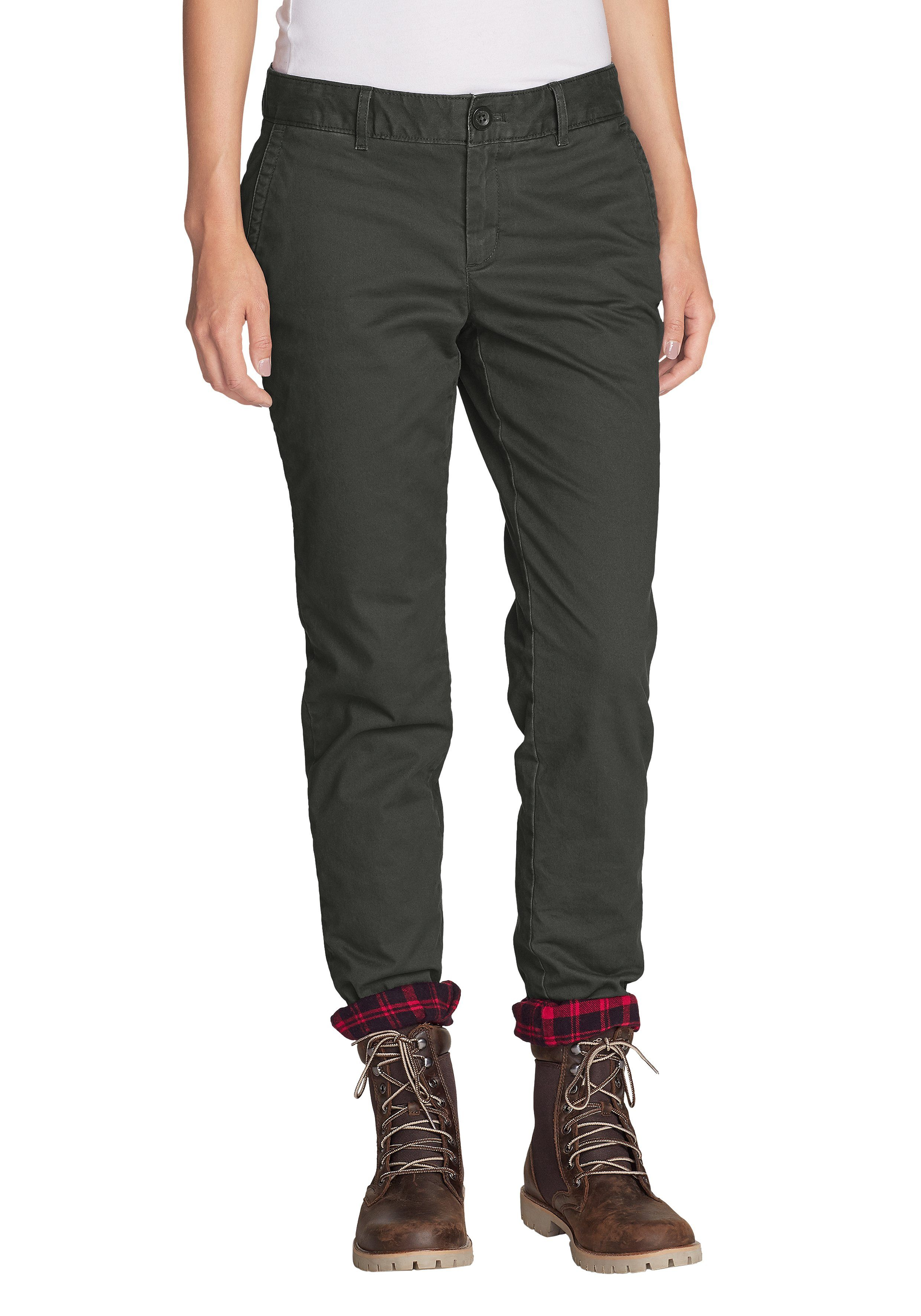 Eddie Bauer 5-Pocket-Jeans, Legend Wash Boyfriend-Hose mit Flanellfutter