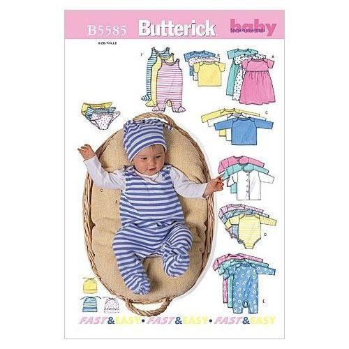 """Butterick Schnittmuster """"Babyausstattung B5585"""" von 0-6 Monate"""