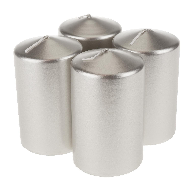 """Stumpenkerzen """"Silber lackiert 10 cm"""" 4 Stück"""