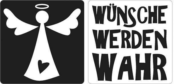 """Reliefeinlage """"Engel + Wünsche werden wahr"""" 2 Stück"""