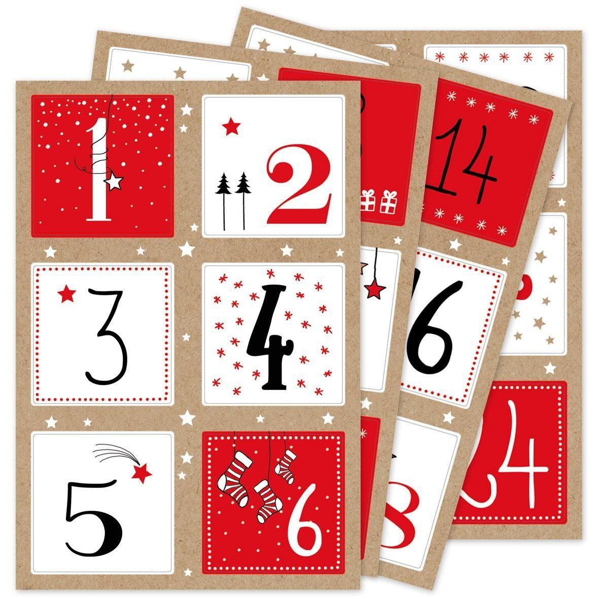 """Sticker Adventskalender """"Zahlen quadratisch"""" 24 Stück"""