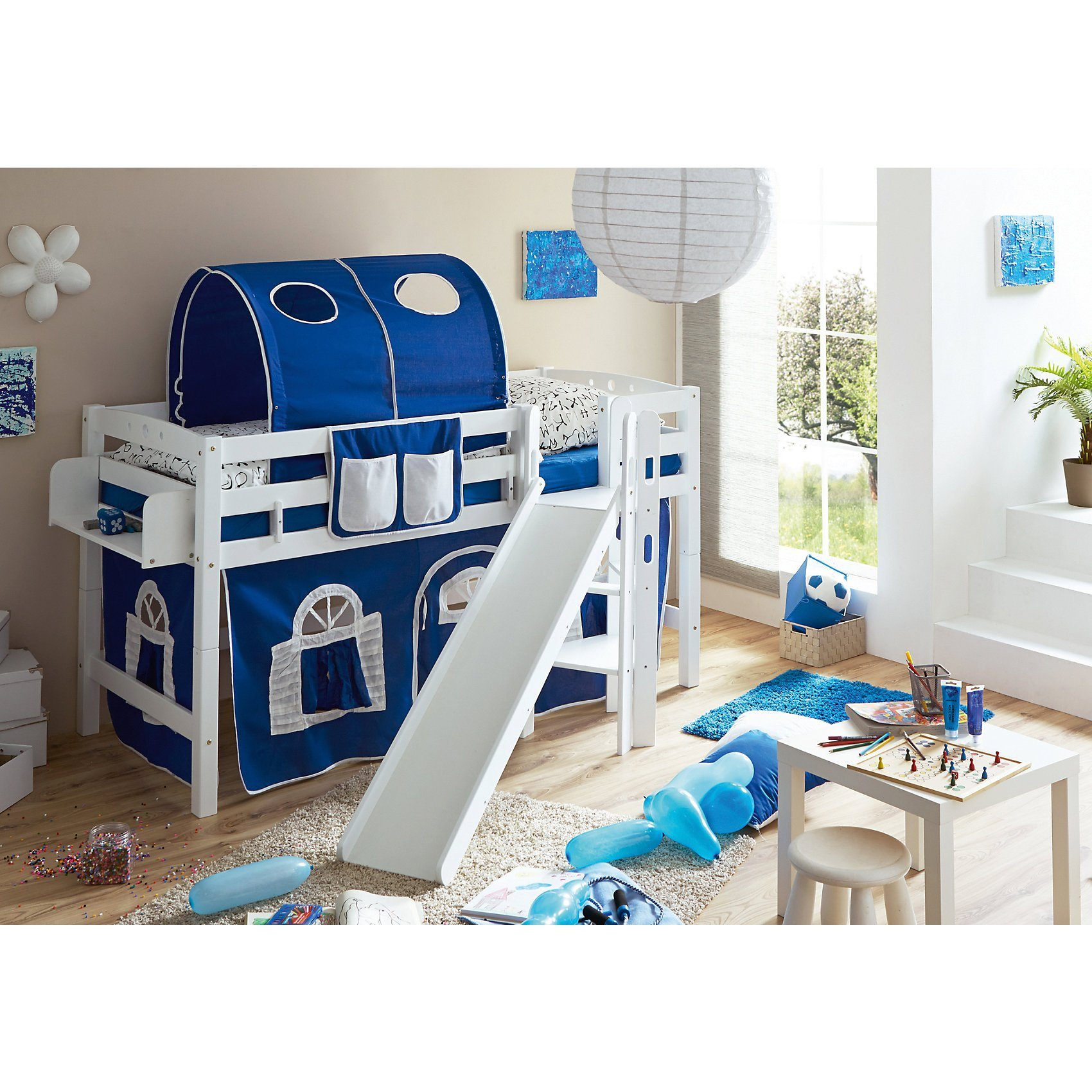 TICAA Spielbett Tino, Buche massiv, weiß lackiert, blau-weiß, 90 x