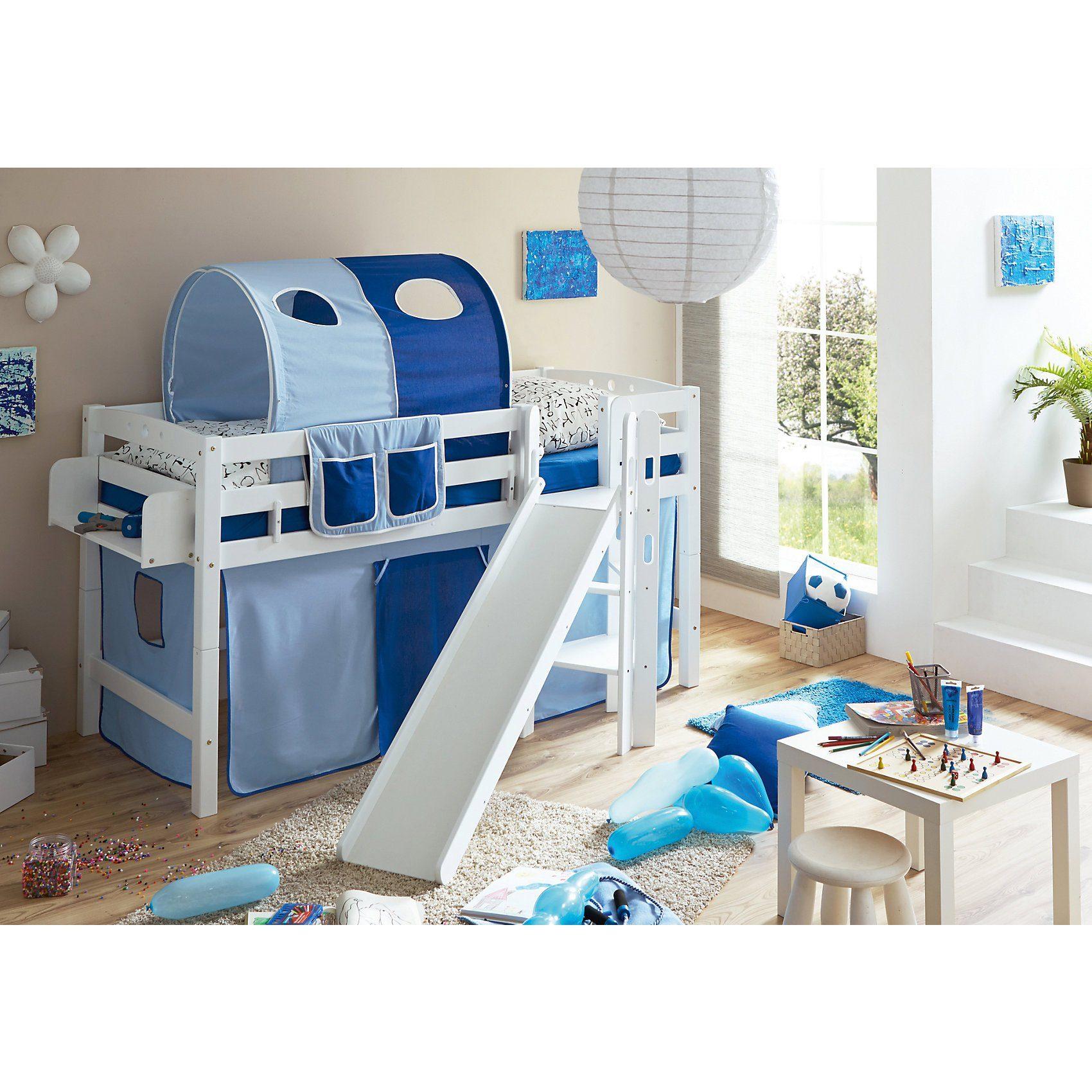 Ticaa Spielbett Tino, Buche massiv, weiß lackiert, hellblau-dunkel