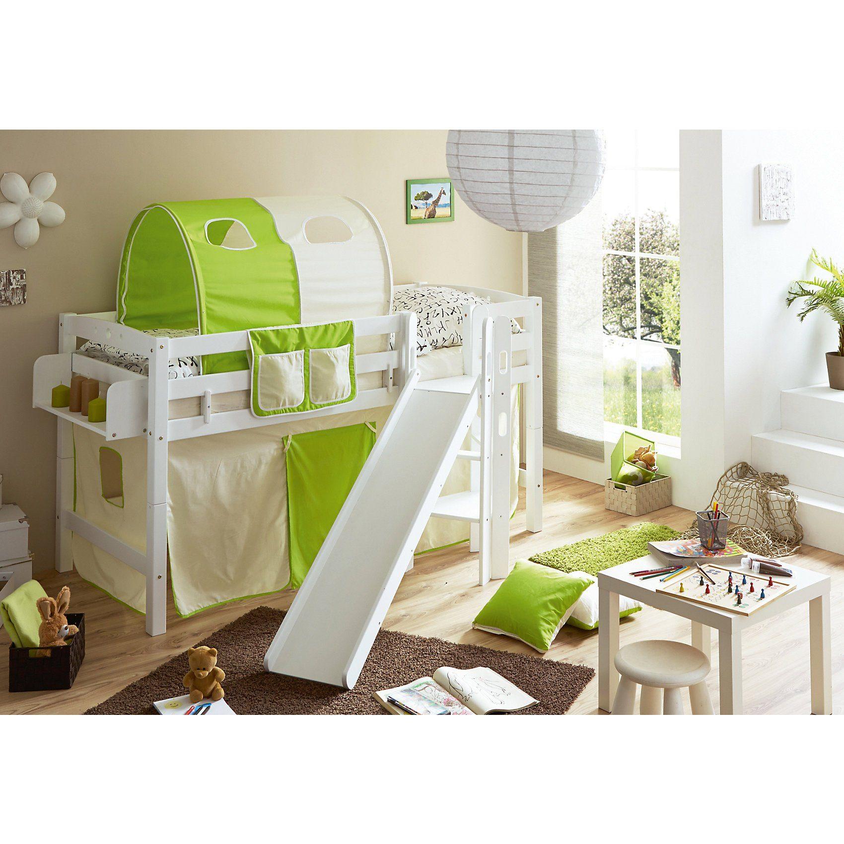 TICAA Spielbett Tino, Buche massiv, weiß lackiert, beige-grün, 90